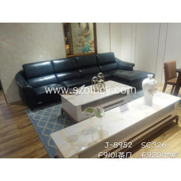 Imported green leather sofa
